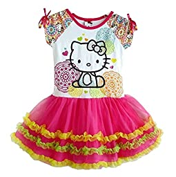 SOPO Hello Kitty Little Toddler Dress Baby Girls Tutu Dress 4T Pink