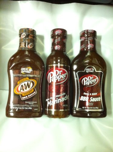 Soda Pop Sauces Triple Sampler Gift Pack- A&W Root Beer BBQ Sauce, Dr Pepper Marinade & Dr Pepper BBQ Sauce