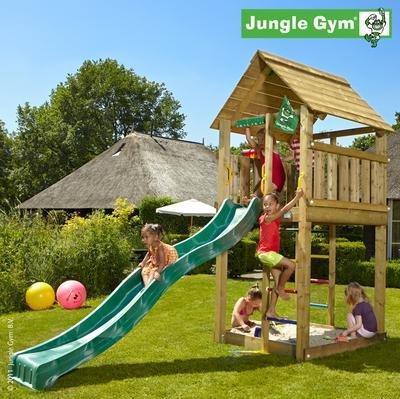 Jungle Gym Spielturm CABIN mit Rutsche - Grün