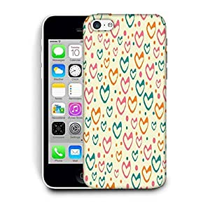 Snoogg Multicolor Hearts Cream Pattern Printed Protective Phone Back Case Cover For Apple Iphone 5C