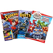 Batman, Superman and SuperHero Squad Coloring Book & Activity Bundle with a Bonus Pack of 24 Crayons