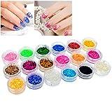 Insten Nail Art Tiny Hexagon Glitter Set, 18 Color