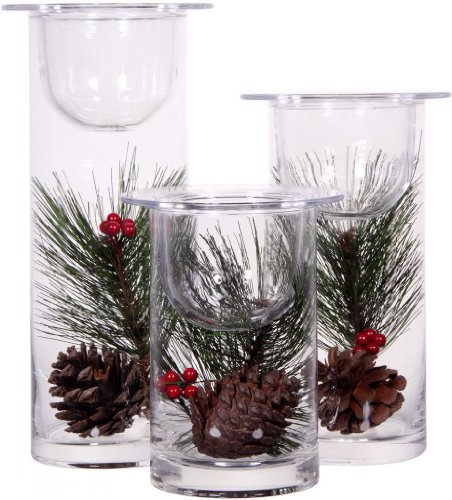 Set of 3 Glass Hurricane Candle Holders Filled with Holiday Flowers ~ Decorative Sphere Ball Candle Holders ~ Christmas Floral Home Decor Centerpiece