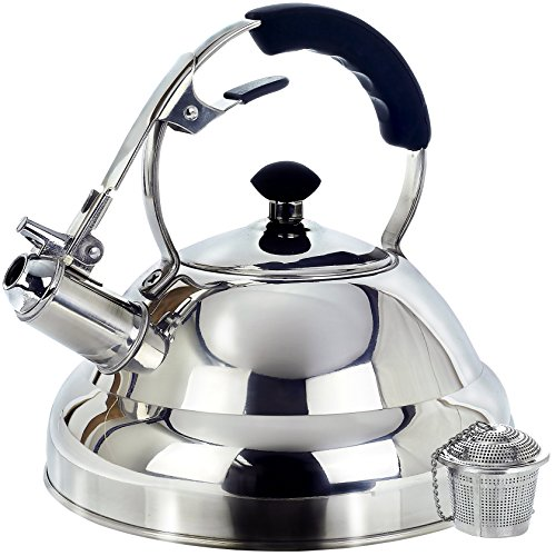 Surgical Stainless Steel Whistling Tea Kettle, 2.75 Quart Stove Top Kettle Teapot with Layered Capsule Bottom, Silicone Handle, Mirror Finish - Tea Infuser Strainer Included (Tea Cast Iron Set Large compare prices)