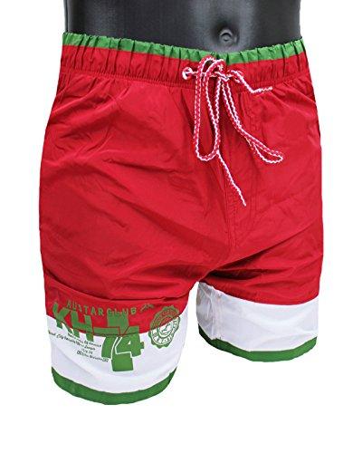 Costume mare uomo bermuda Austar Yachting rosso verde bianco pantaloncino boxer slim fit (M)
