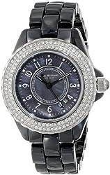 Isaac Mizrahi Women's IMN45B Crystal Bezel Black Ceramic Bracelet Watch
