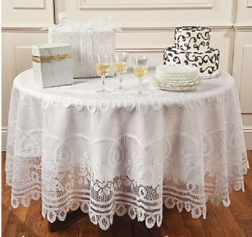 Elegant Round White Lace Tablecloth Kitchen Linen Dining Table Cloth 84
