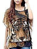 女性シャツ Tシャツ Mサイズ 丸首 虎パターン ブラック ルーズ カジュアルウェア ストレッチ