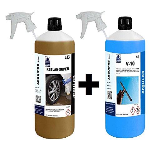 Prodotto-professionale-per-pulizia-cerchioni-pulisci-vetri-e-cruscotti-automobili-Reblan-Super-1-litro-V10-Professional-Car-Wash