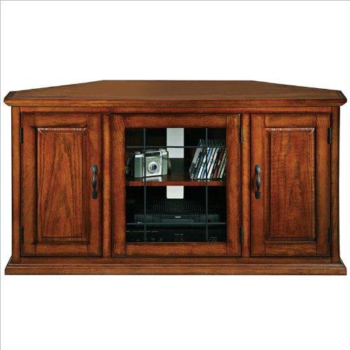 "Leick Furniture Leaded Glass 50"" Corner TV Stand"