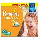 Pampers Simply Dry Nappies Size 6 Jumbo Pack 62 per pack Case of 1