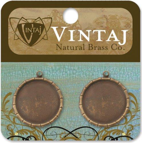 Vintaj Metal Brass Company - Metal Jewelry Charms - Bamboo Bezel