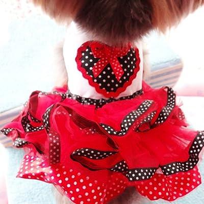 PanDaDa Pet Dog Tutu Princess Dress Clothes Love Heart Print Bowknot Party Skirt XXL