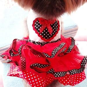 Urparcel Pet Dog Tutu Princess Dress Clothes Love Heart Print Bowknot Party Skirt S