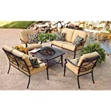 Paxton Place 5-Piece Patio Conversation Set with Fire Pit