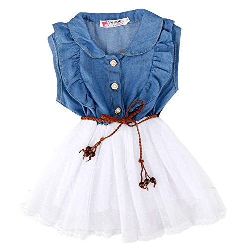 COOFANDY Girls Kids Toddlers Denim And Tulle Stitching Multi-Layer Tutu Dress 2-9Y