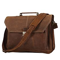 Texbo Men's Crazy Horse Leather Briefcase Messenger Bag Fit 16.5 Inch Laptop Tote