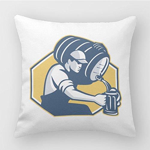 Polada Bartender Pouring Keg Barrel Beer Retro Sofa Pillow Cases Decor Throw Pillows