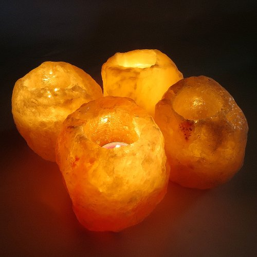4 Salt Candle Tea Light Holders (Bundle)