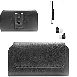 DMG Premium PU Leather Cell Phone Pouch Carrying Case with Belt Clip Holster for Micromax CANVAS JUICE A77/A177 (Black) + Black Stereo Earphone with Mic and Volume Control