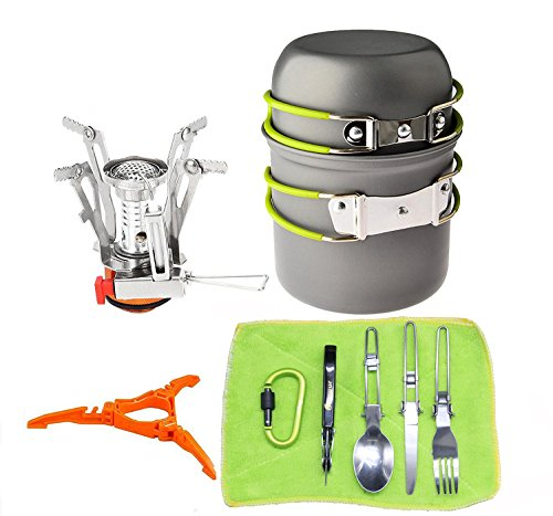 12pcs-Camping-Cookware-Stove-Carabiner-Canister-Stand-Tripod-Folding-Spork-Set-BisgearTM-Outdoor-Camping-Hiking-Backpacking-Non-stick-Cooking-Non-stick-Picnic-Knife-Spoon-Wine-Opener