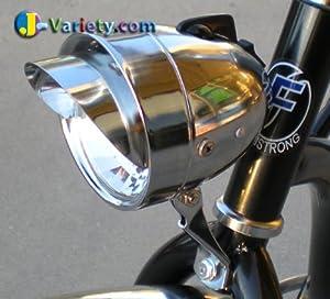 Bicycle Chrome Bullet Head Light W Vizor Beach Cruiser Chopper AA BATTERY