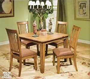 amazon com yale solid oak mission style dinette set