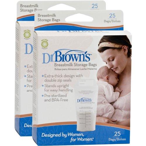 Dr. Brown's Breastmilk Storage Bags, 25 Count (Set of 2) - 1