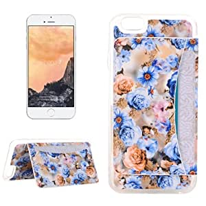 Crazy4Gadget For iPhone 7 Rose Pattern Flexible Card Slots TPU Protective Case with Holder & Card Slots & Wallet (Blue)