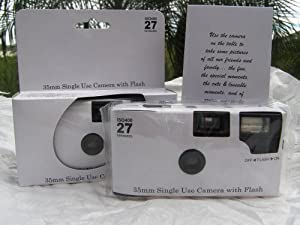 10 Pack of Plain Glossy White Disposable 35mm Cameras for Wedding or Any Party, 27exp