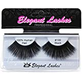 Elegant Lashes #199 Black Thick Super-Long 100% Human Hair False Eyelashes for Dancers, Drag Queen, Halloween, Costume, Rave