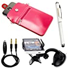 Fashionable Vertical Pouch Carrying Shoulder Bag Case for Motorola Moto X / Moto G / Droid Mini / Droid Ultra / Droid MAXX Smartphone + Stylus Pen + Auxiliary Cable + Windshield Mount (Pink)