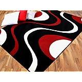 Teppich Modern Trendline Schwarz Rot Retro 4 Größen