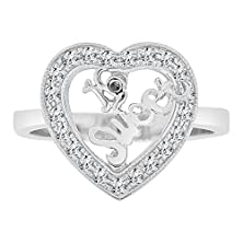 buy 14K White Gold, Heart Sweet 16 Ring Lab Created Cz Crystals