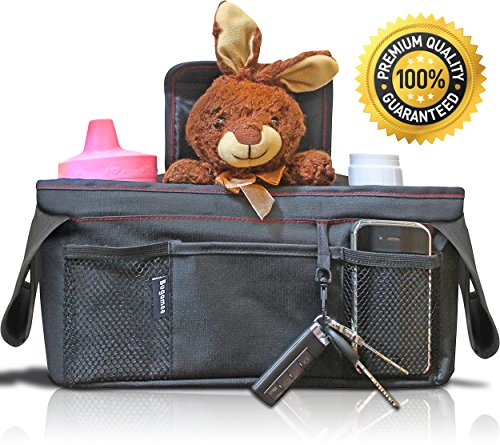 Stroller Organizer Bag by Bugamee; Two Insulated Cup Holders, BPA-free, Universal Fit, Large Capacity, Phone and Key Holder Accessories; Easy to Attach, Wipe Clean; Makes a Great Baby Shower Gift! - 1
