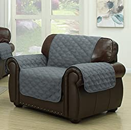Geneva Home Fashion Ashford Reversible Chair Cover, Grey/Light Grey
