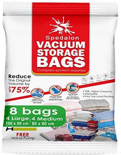 Vacuum Storage Bags - Pack of 8 - 4 Large (40x31) + 4 Medium (31x25) ReUsable space savers with free Hand Pump for travel packing - Best Seal Bags for Clothes, Comforters, Pillows, Curtains, Blankets (Vaccume Travel Bags compare prices)