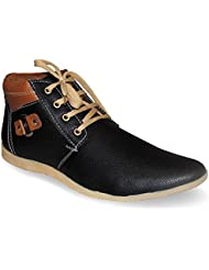 Synthetic Leather Stylish Black Lace Up Casual Shoes