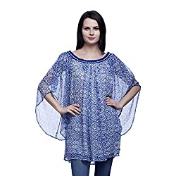 MansiCollections Casual Bell Sleeve Printed Women's Blue Top (X-Large)