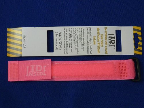 ID Inside Velcro Child ID Bracelet - PINK - Child Safety ID Band