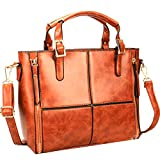 Di Grazia Women's Italian Handbag(Block design, Chocolate Brown)
