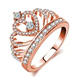Similanka Rings Women 18K Rose Gold Plated AAA Cubic Zirconia Princess Crown Ring Girl Gift Wedding Engagement (Rose Gold, 8) (Color: Rose gold)