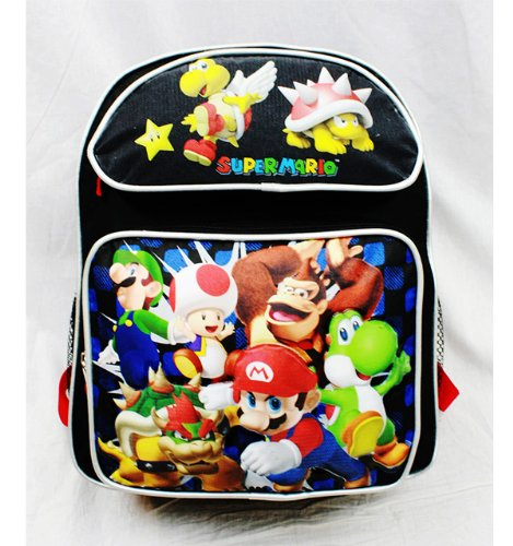 "Medium Backpack - Super Mario Bros - Dream Team Black with Yoshi 14"" School Bag - 1"