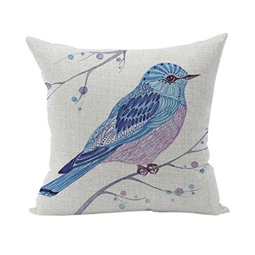 Nunubee Kissenbezug Dekokissen Haus Dekoration weich Quadrat Sofa Kissen Blaue Vögel