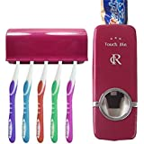RC Hands Free Toothpaste Dispenser Automatic Toothpaste Squeezer and Toothbrush Holder for 5 Brushes Set (Red)