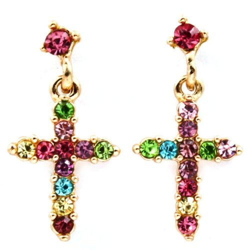 Adorable Small Pink, Blue, Green, Purple Multicolor Crystal Embellished Cross Drop Dangle Earrings Gold Plating