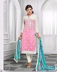 V-Kart Women's Cotton Unstitched Dress Material (Vkart_354_Pink_Free Size)