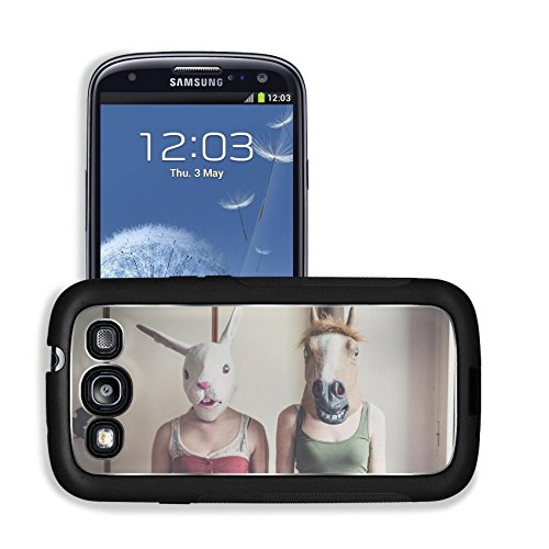 Luxlady Premium Samsung Galaxy S3 Aluminum Backplate Bumper Snap Case IMAGE ID: 35521098 mask rabbit and horse mask couple at (Horse Mask Price)