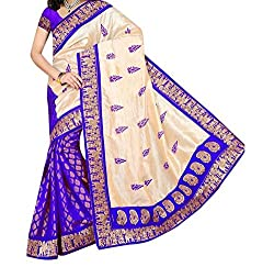 RGR Enterprice Woman's Bhagalpuri Designer Saree (Silky Touch Blue_Multi-Coloured_Free Size)