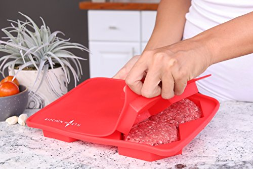 Silicone Burger Press Maker & Freezer Container (5 in 1) Perfect Hexagon Patties Veggie Burgers & Stuffed Hamburgers For Cookies Hash Browns & Cutlets Convenient Stackable Storage BPA Free (Red)